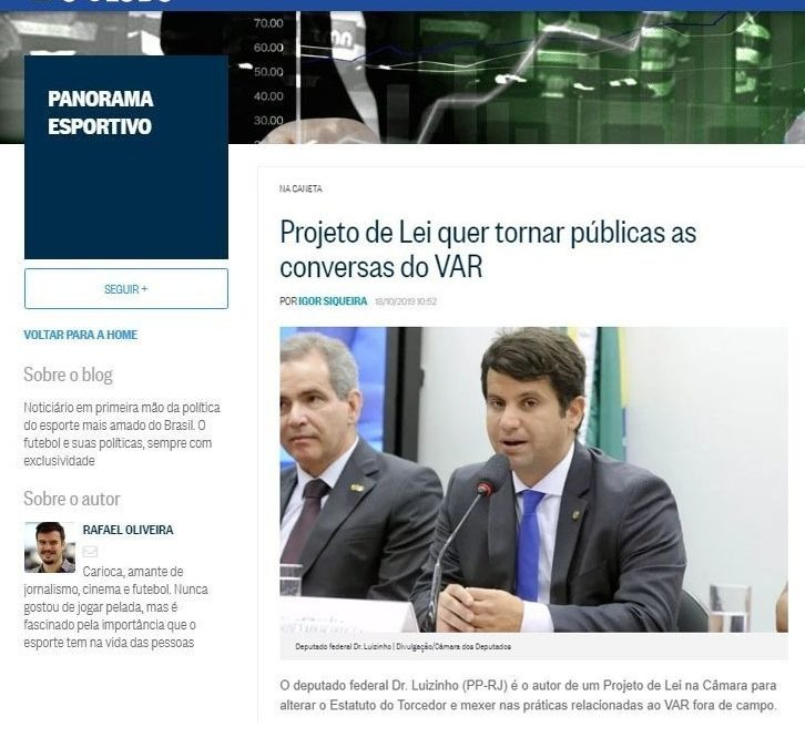 O Globo – Projeto de Lei quer tornar públicas as conversas do VAR