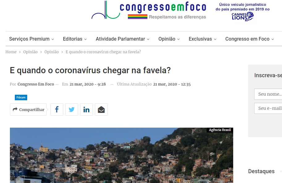 E quando o coronavírus chegar na favela?