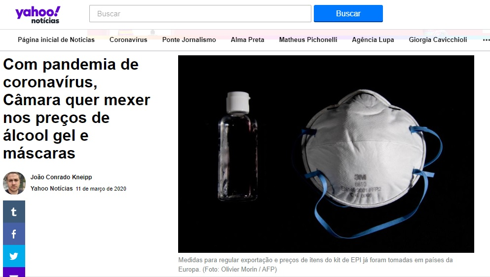 Com pandemia de coronavírus, Câmara quer mexer nos preços de álcool gel e máscaras