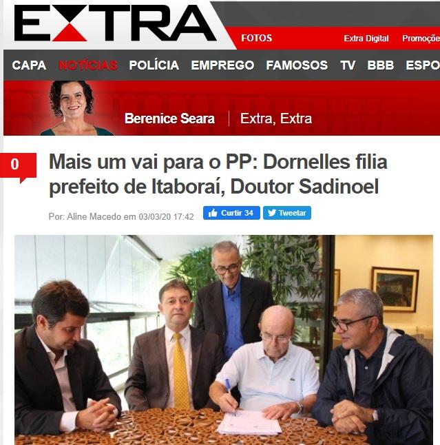 Mais um vai para o PP: Dornelles filia prefeito de Itaboraí, Doutor Sadinoel