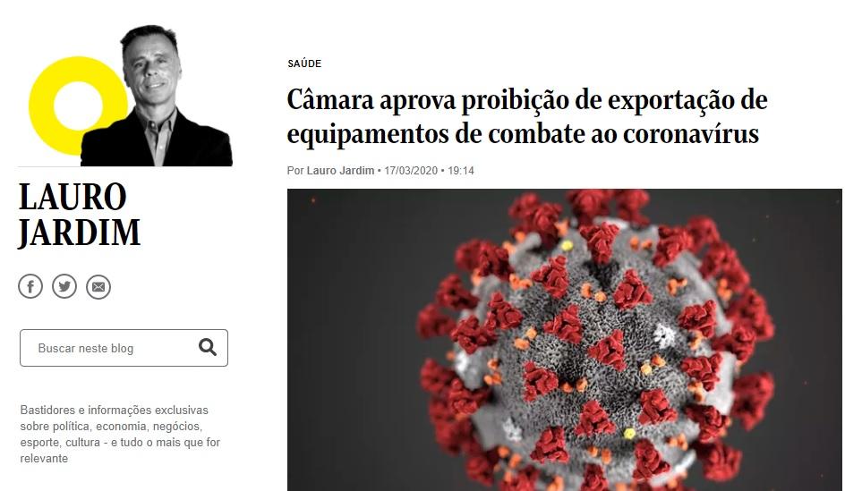 Câmara aprova proibição de exportação de equipamentos de combate ao coronavírus