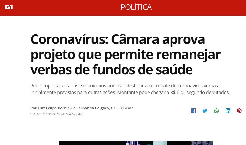 Coronavírus: Câmara aprova projeto que permite remanejar verbas de fundos de saúde