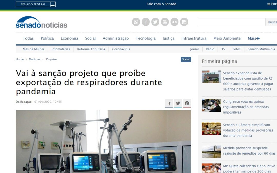 Vai à sanção projeto que proíbe exportação de respiradores durante pandemia