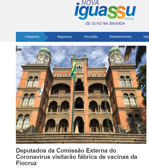 Deputados da Comissão Externa do Coronavírus visitarão fábrica de vacinas da Fiocruz