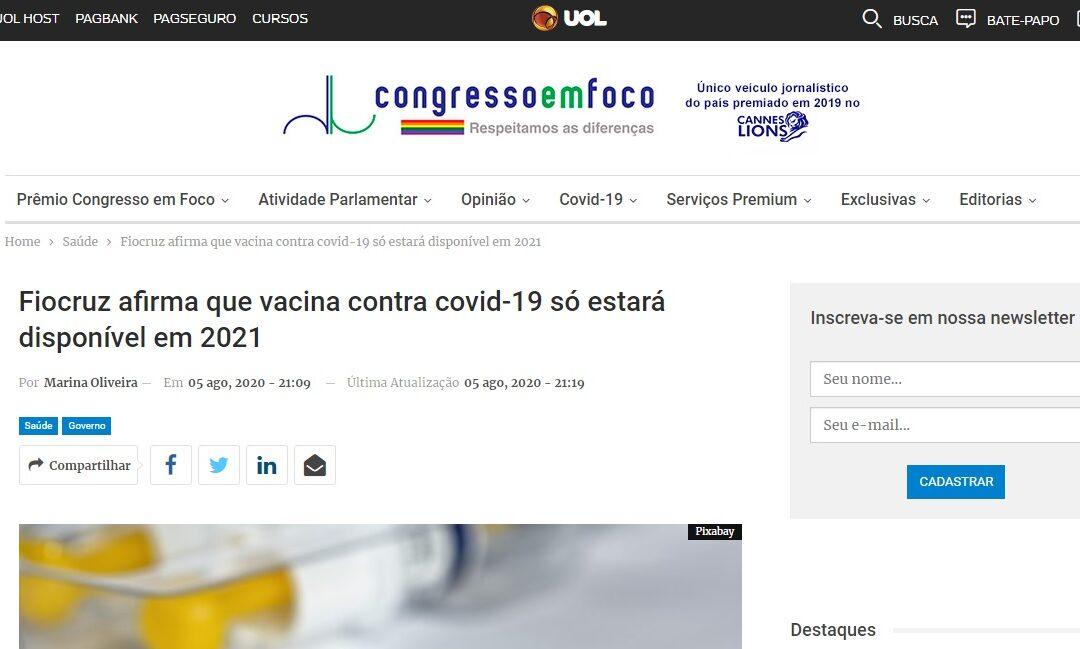 Fiocruz afirma que vacina contra covid-19 só estará disponível em 2021