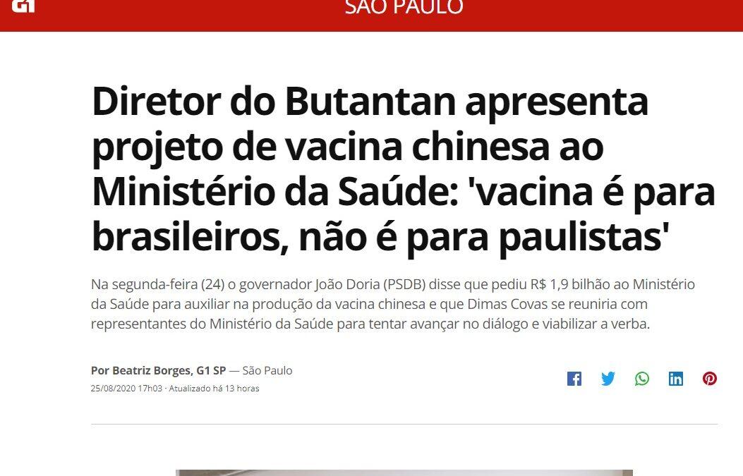 Diretor do Butantan apresenta projeto de vacina chinesa ao Ministério da Saúde: 'vacina é para brasileiros, não é para paulistas'