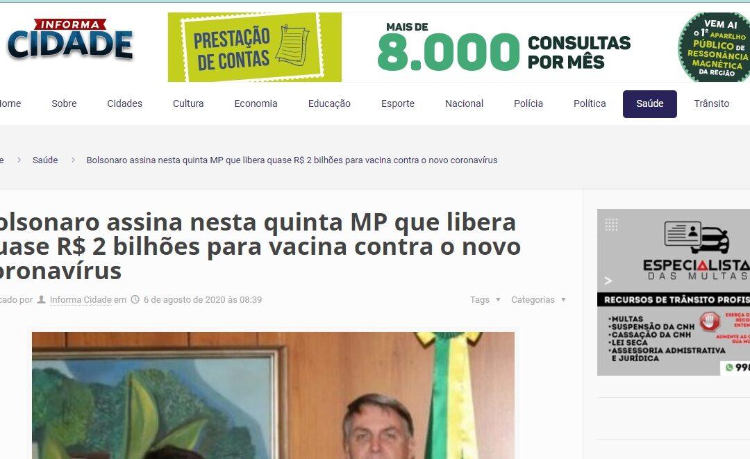 Bolsonaro assina nesta quinta MP que libera quase R$ 2 bilhões para vacina contra o novo coronavírus