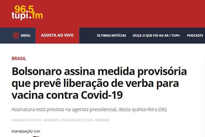 Bolsonaro assina medida provisória que prevê liberação de verba para vacina contra Covid-19