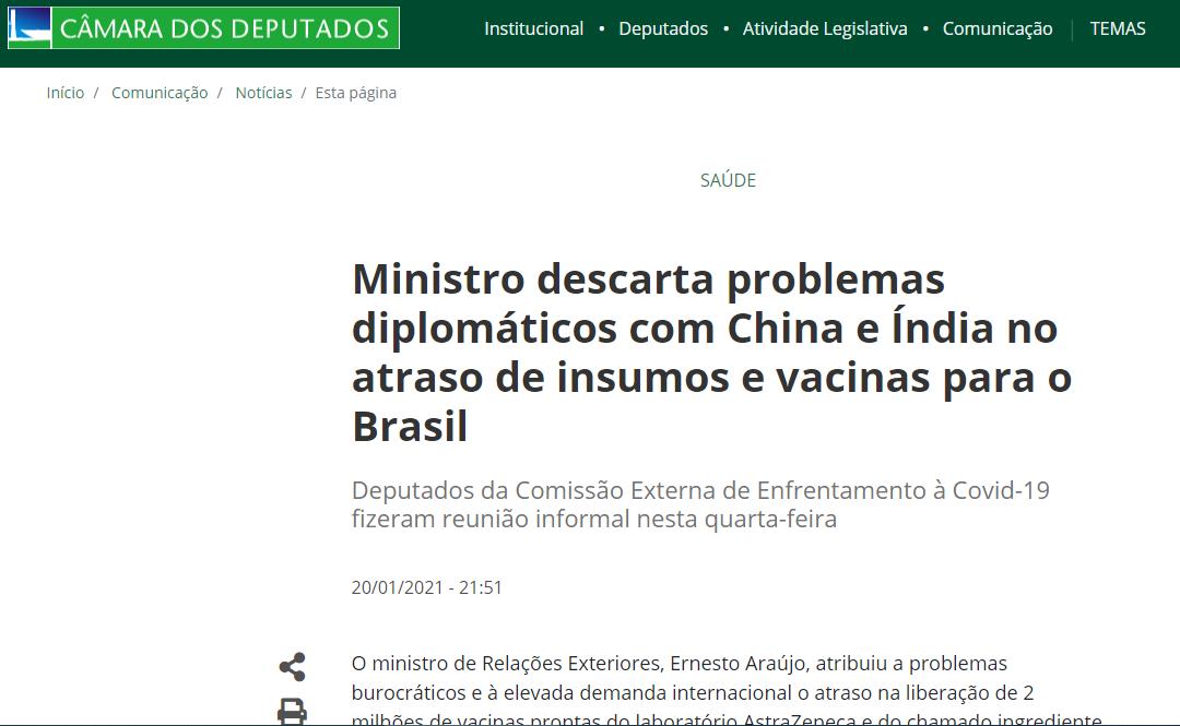 Ministro descarta problemas diplomáticos com China e Índia no atraso de insumos e vacinas para o Brasil