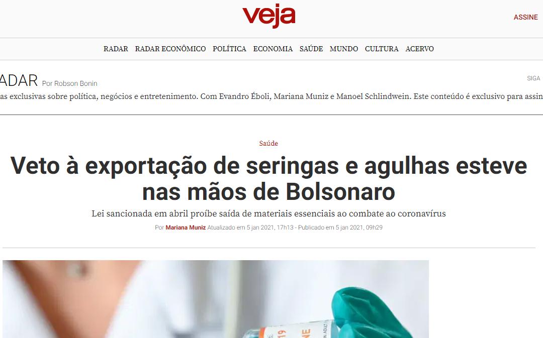 Veto à exportação de seringas e agulhas esteve nas mãos de Bolsonaro