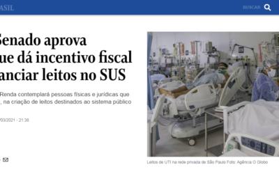 Covid-19: Senado aprova proposta que dá incentivo fiscal a quem financiar leitos no SUS