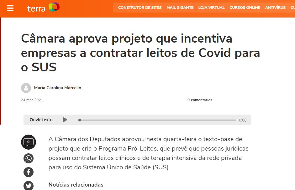 Câmara aprova projeto que incentiva empresas a contratar leitos de Covid para o SUS