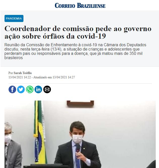 Coordenador de comissão pede ao governo ação sobre órfãos da covid-19