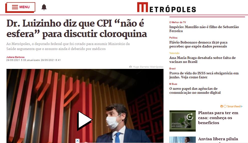 """Dr. Luizinho diz que CPI """"não é esfera"""" para discutir cloroquina"""
